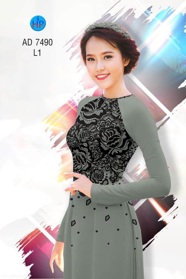 Vải áo dài Hoa giả ren kiểu mới AD 7490