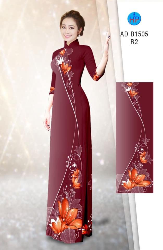 Vải áo dài Hoa in 3D mới ra AD B1505