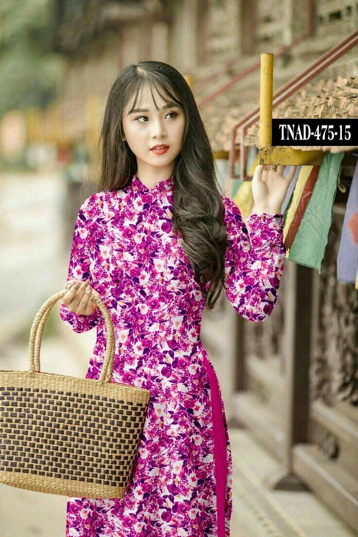 Vải áo dài hoa đều đẹp mới ra AD TNAD 475