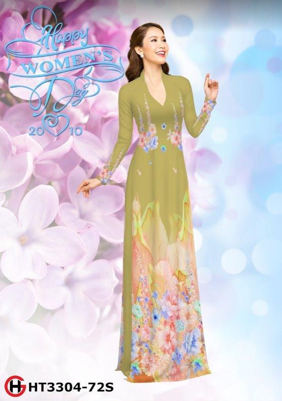 Vải áo dài hoa đẹp thiết kế 2019 AD HT3304