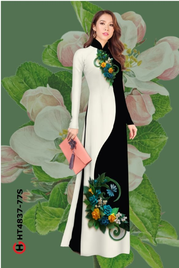 Vải áo dài hoa hồng đẹp mới ra AD HT4837