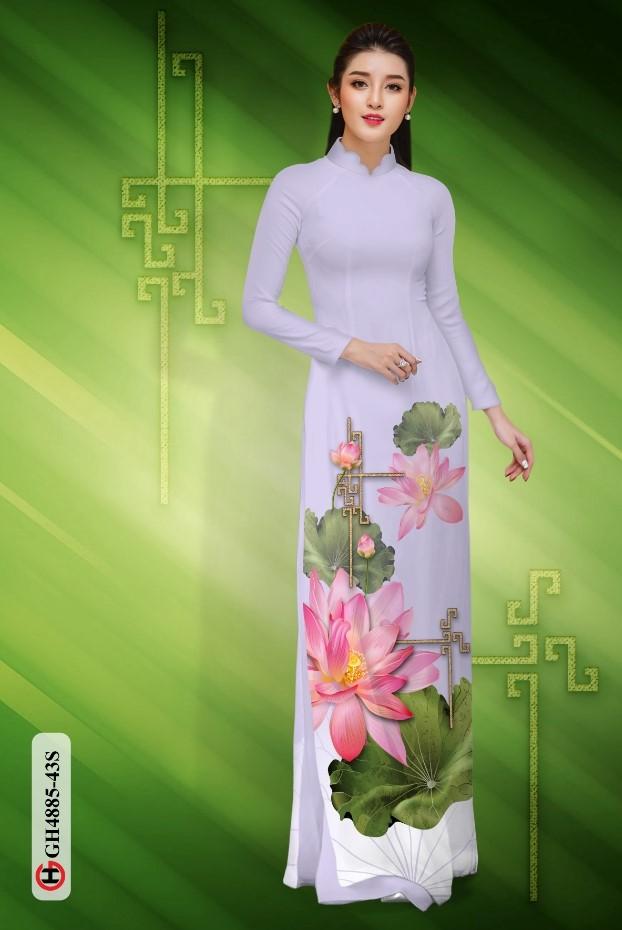 Vải áo dài hoa sen dịu dàng thiết kế 2019 AD GH4885