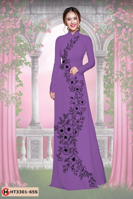 Vải áo dài hoa đẹp dọc thân mới ra AD HT3301