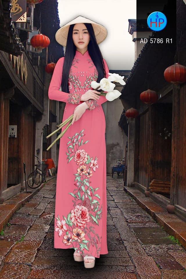 Vải áo dài Hoa in 3D thiết kế 2019 AD 5786