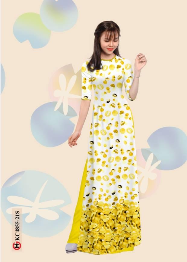 Vải áo dài hoa đẹp thiết kế 2019 AD KC4855