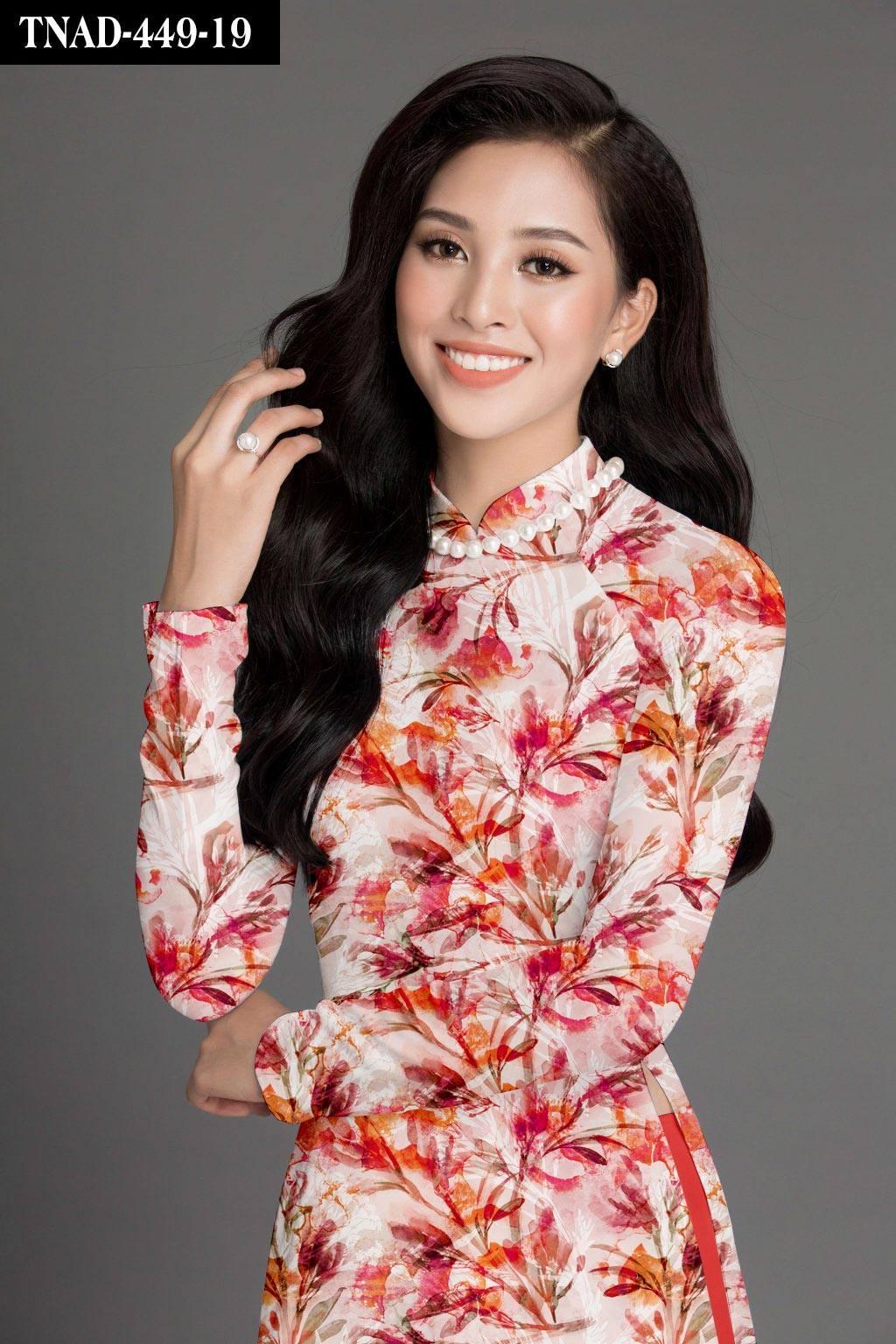 Vải áo dài hoa đẹp mới ra AD TNAD 449