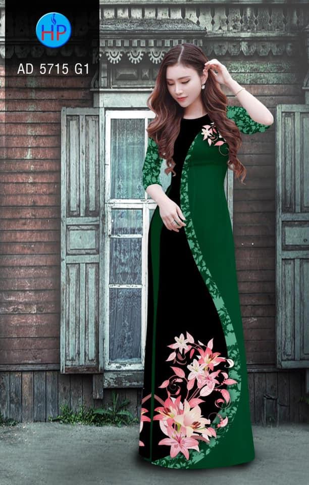 Vải áo dài Hoa Ly thiết kế 2019 AD 5715