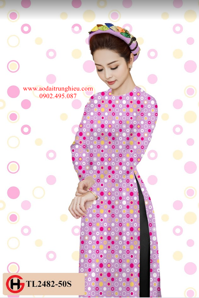 Vải áo dài chấm bi thiết kế 2019 AD TL2482