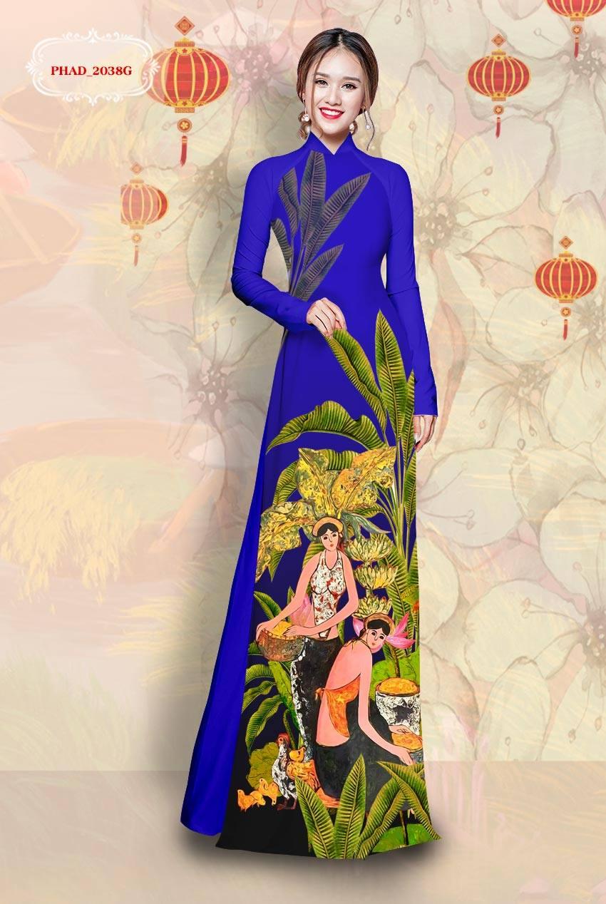 Vải áo dài cô gái và hoa mới ra AD PHAD 2038