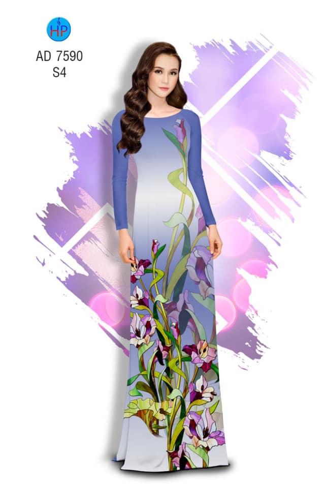 Vải áo dài Hoa in 3D thiết kế 2019 AD 7590