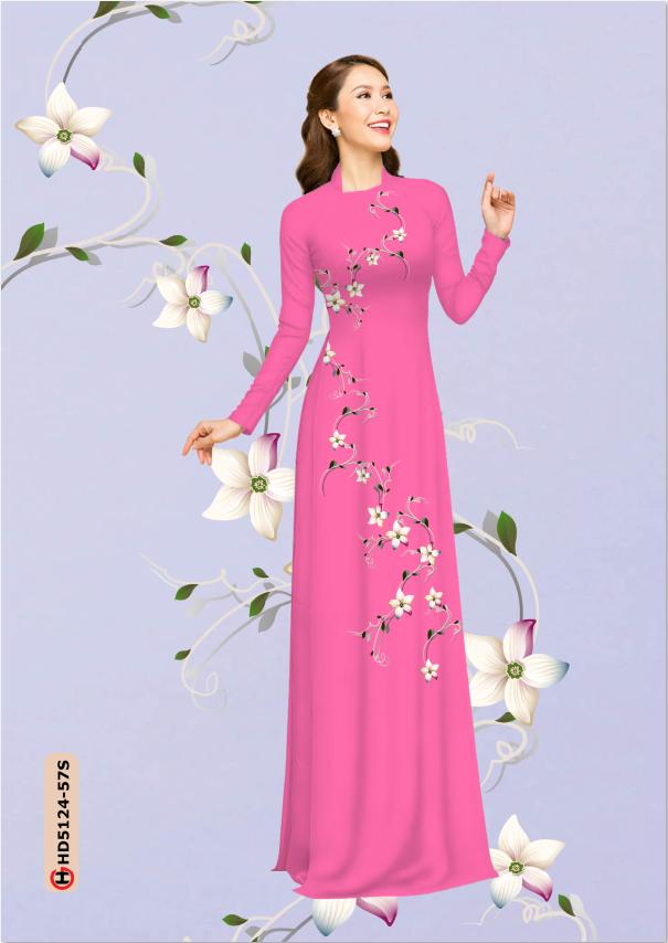 Vải áo dài hoa rơi nhẹ nhàng thiết kế 2019 AD HD5124