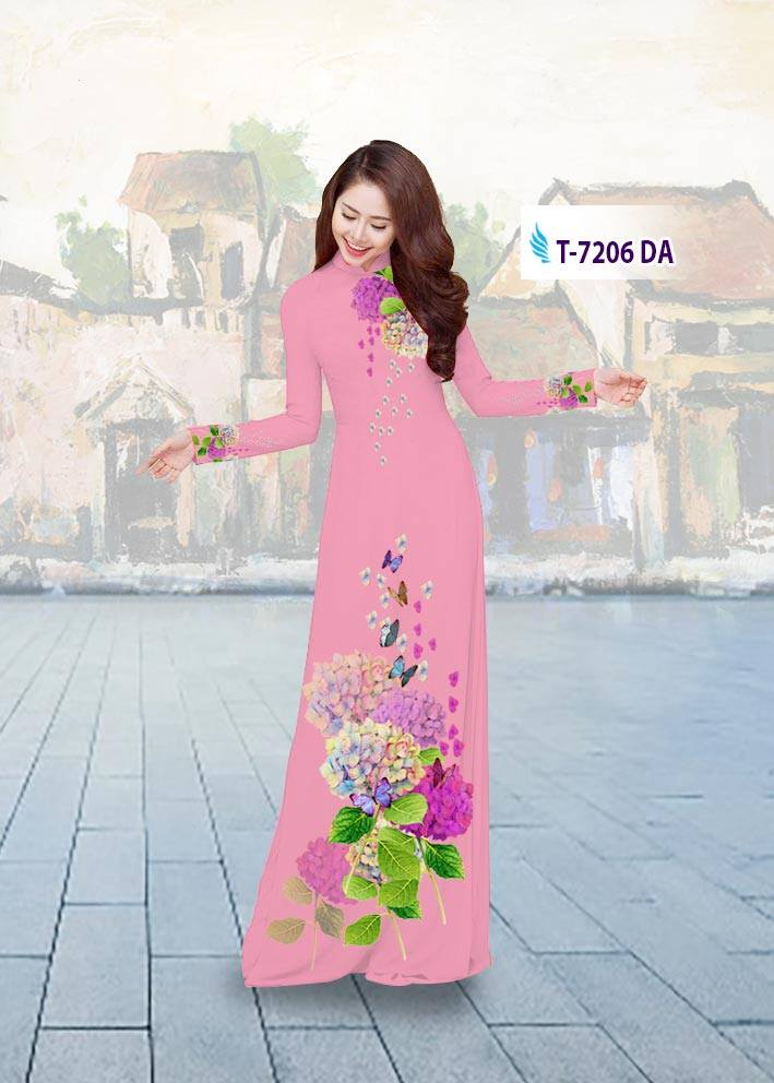 Vải áo dài hoa đẹp mới ra AD T7206