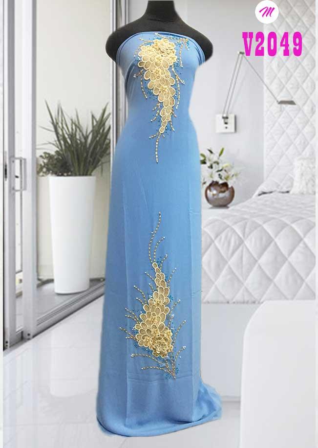 Vải áo dài kết hoa hình chùm nho kiểu mới AD V2049