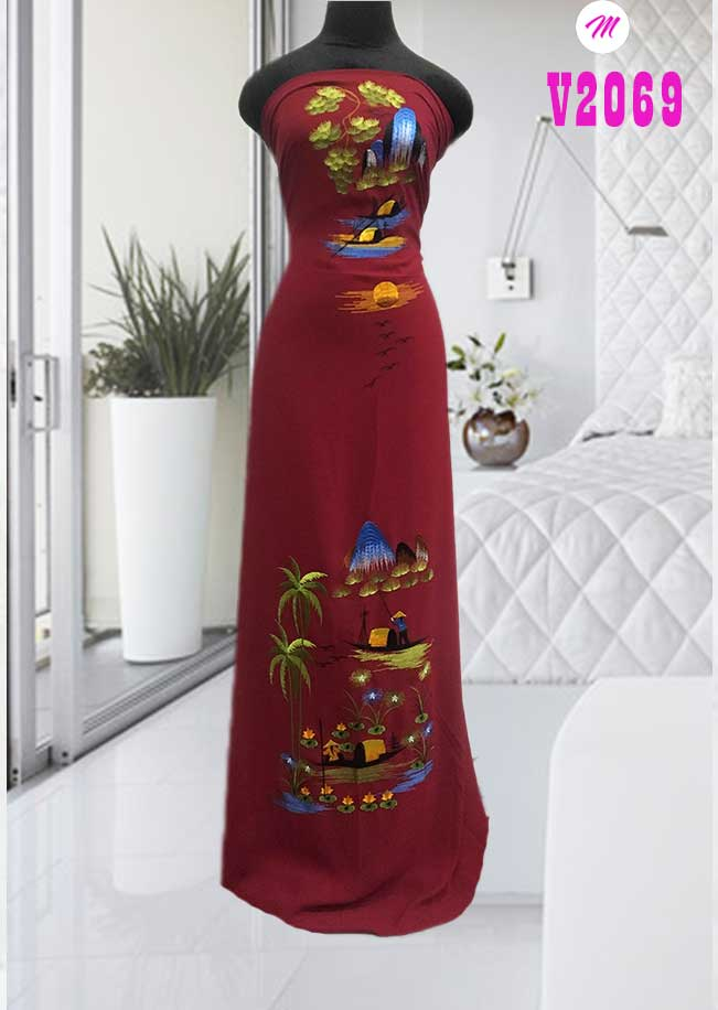 Vải áo dài thêu phong cảnh kiểu mới AD V2069