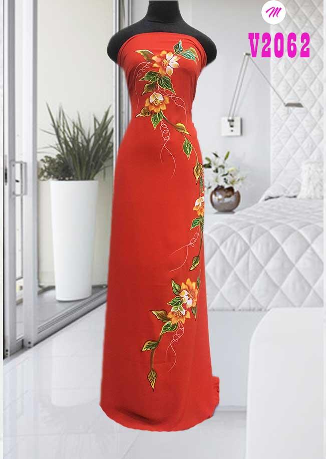 Vải áo dài vẽ hoa dọc thân kiểu mới AD V2062