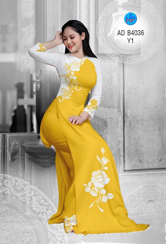 Vải áo dài Hoa hồng thiết kế 2019 AD B4036