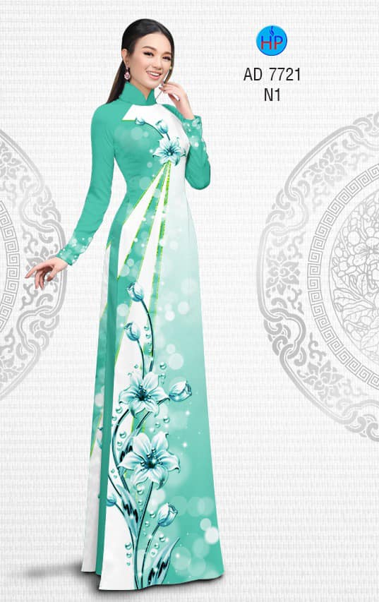 Vải áo dài Hoa lung linh mới ra AD 7721