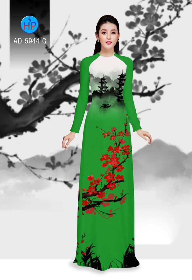 Vải áo dài hoa và phong cảnh mới ra AD 5944