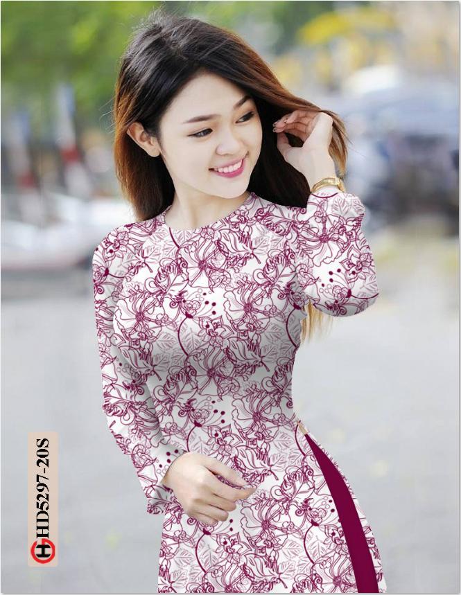 Vải áo dài hoa văn thiết kế 2019 AD HD5297