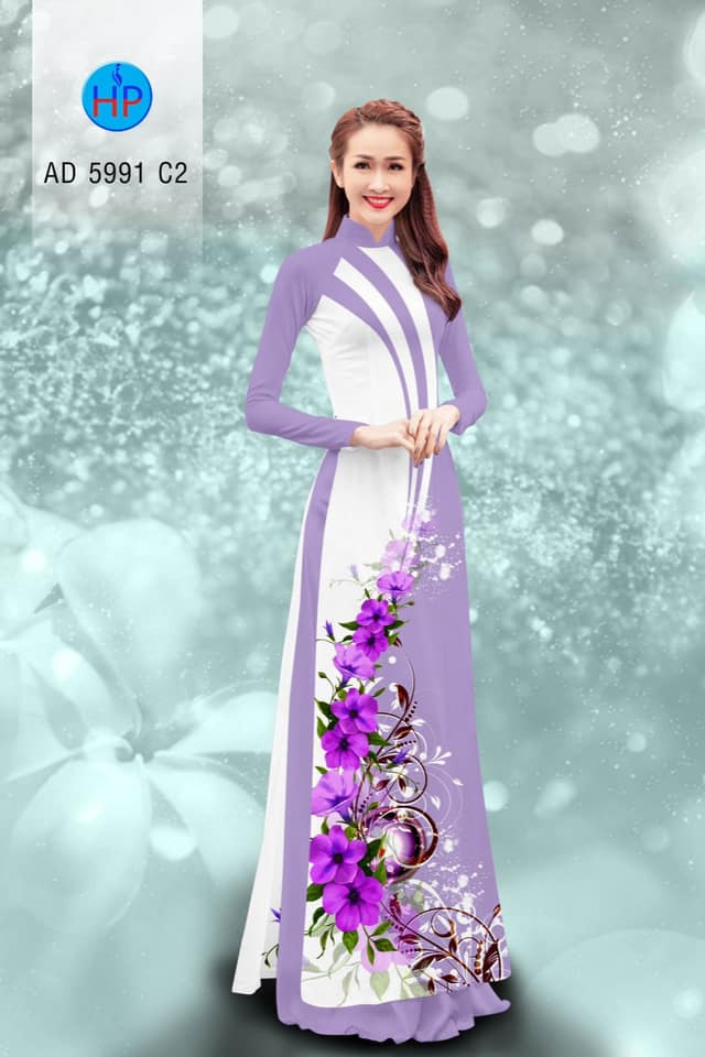 Vải áo dài Hoa in 3D mới ra AD 5991