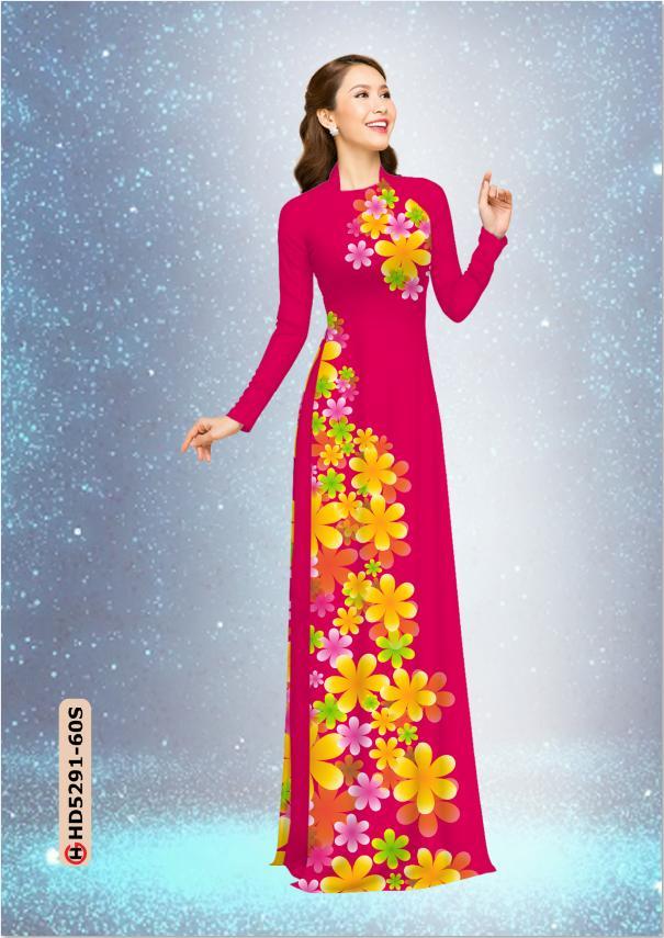 Vải áo dài hoa 3D trên dưới kiểu mới AD HD5291