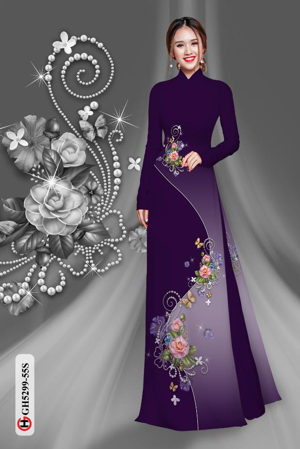 Vải áo dài hoa dọc thân kiểu mới AD GH5299