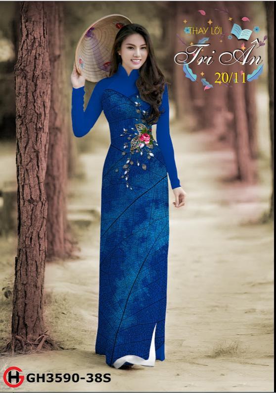 Vải áo dài hoa hồng kiểu mới AD GH3590