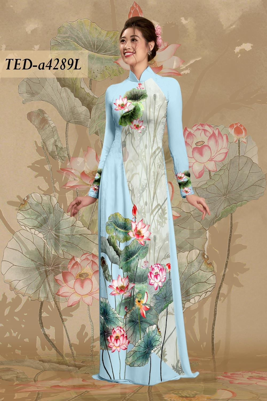 Vải áo dài hoa sen độc đáo mới ra AD TED a4289