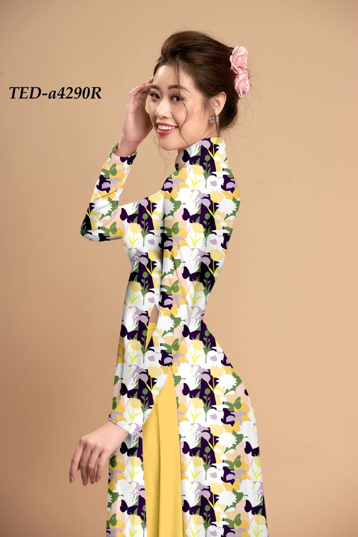 Vải áo dài hoa lá đều kiểu mới AD TED a4290
