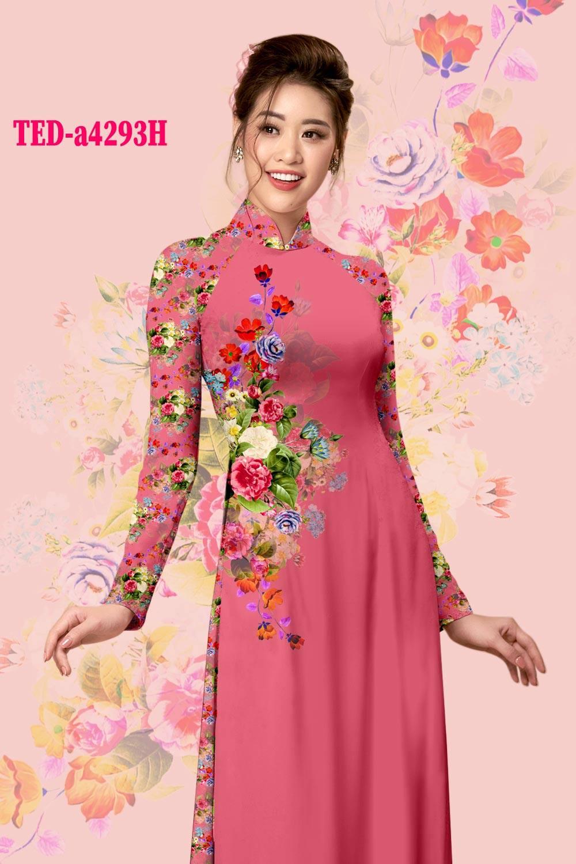 Vải áo dài hoa hồng kiểu mới AD TED a4293