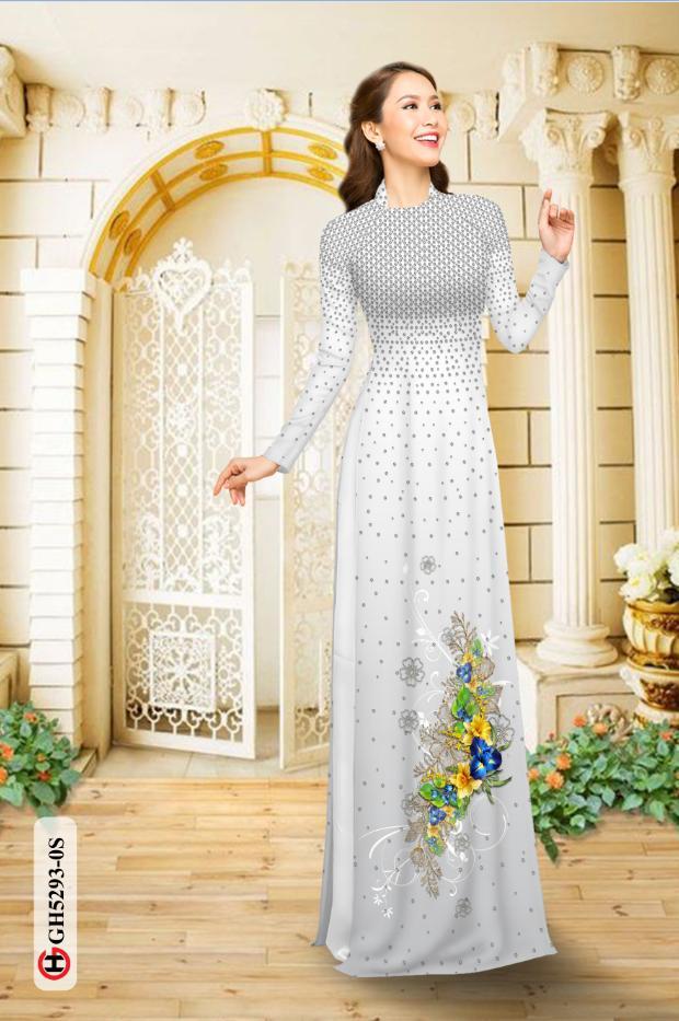 Vải áo dài hoa và bi thiết kế 2019 AD GH5293