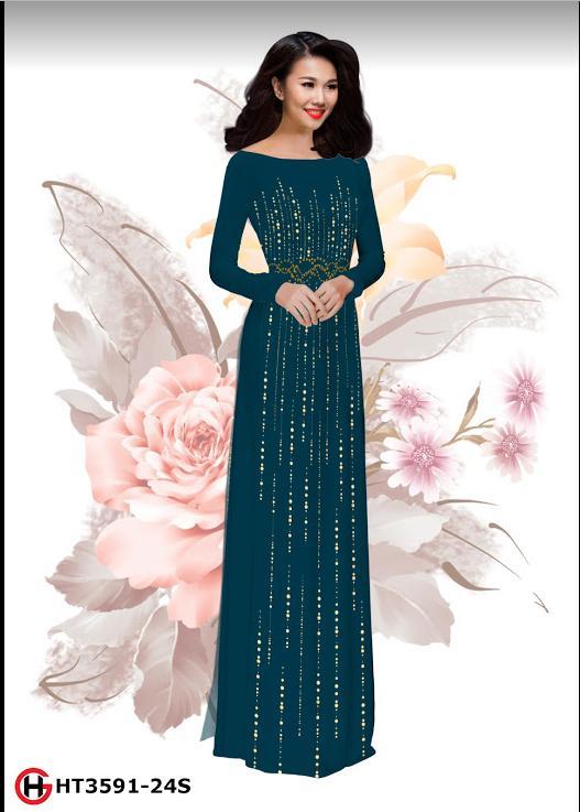 Vải áo dài hoa in 3D thiết kế 2019 AD HT3591