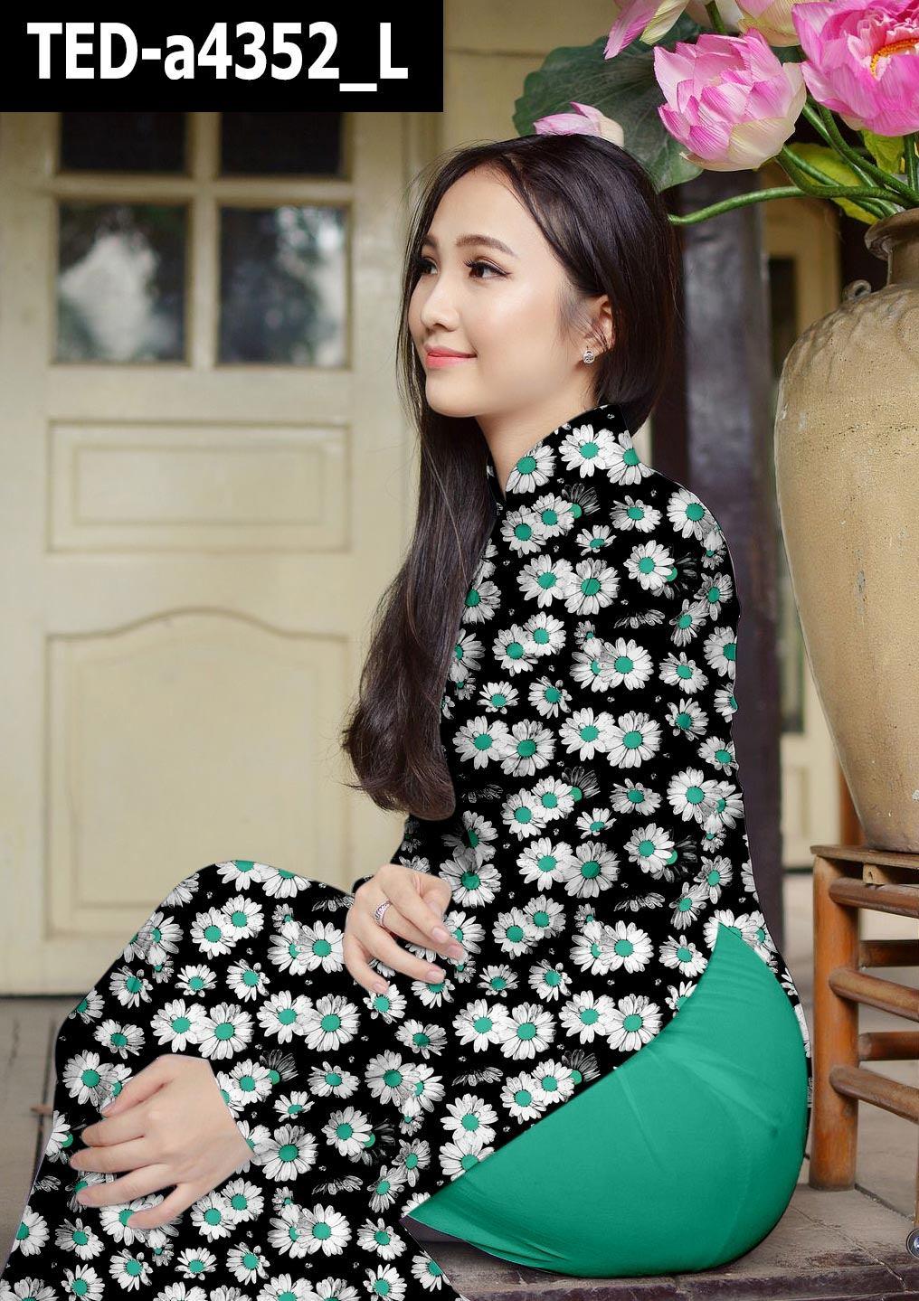 Vải áo dài hoa cúc đều kiểu mới AD TED a4352