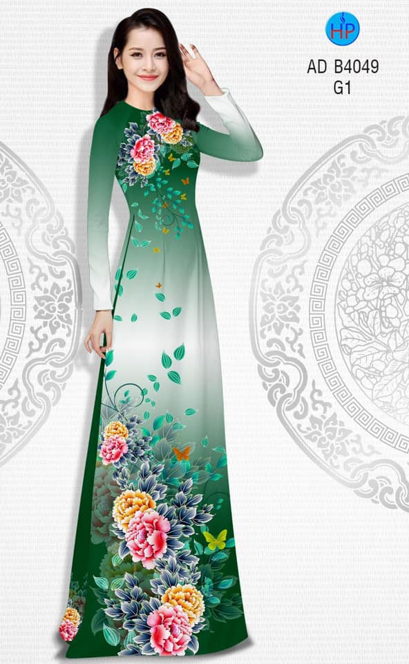 Vải áo dài Hoa Mẫu Đơn thiết kế 2019 AD B4049