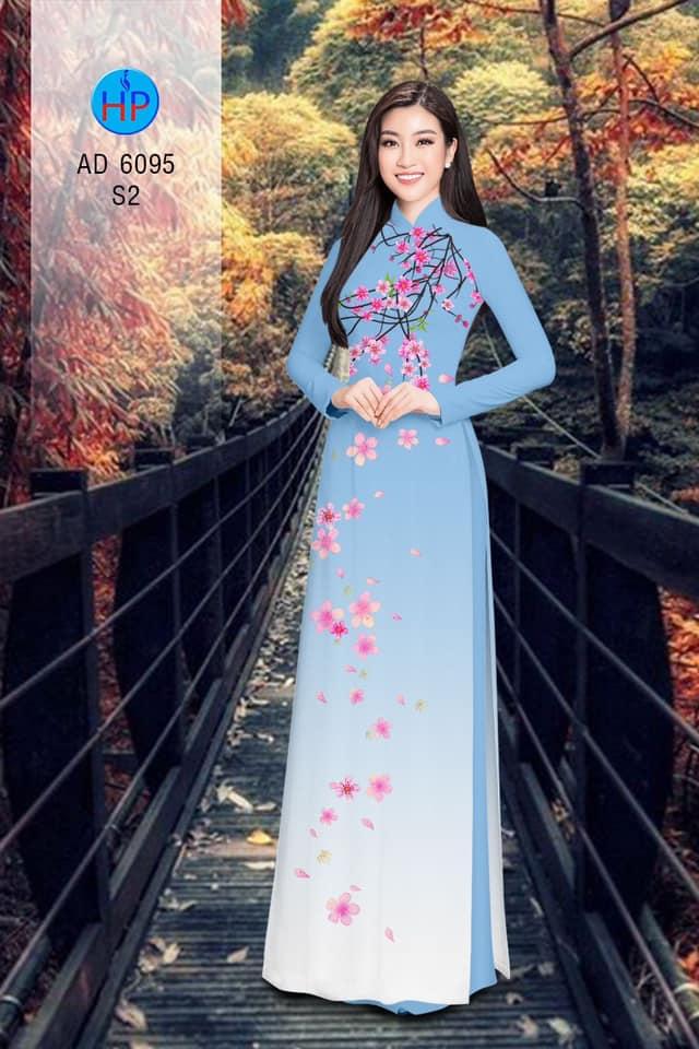 Vải áo dài Hoa Đào rơi nhẹ nhàng thiết kế 2019 AD 6095