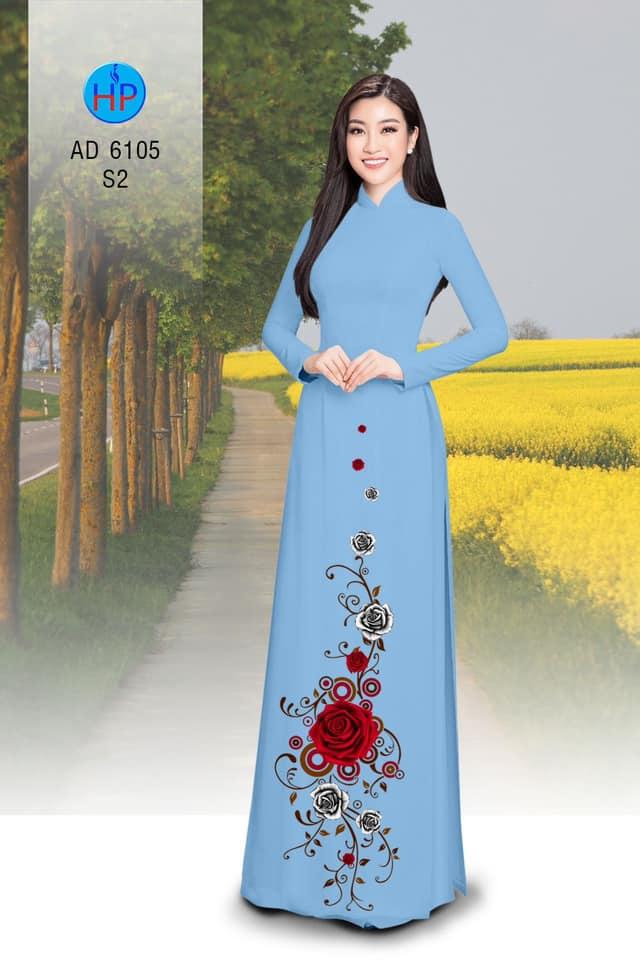 Vải áo dài Hoa hồng mới ra AD 6105