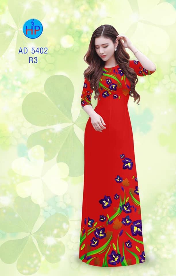 Vải áo dài Hoa Đậu Biếc thiết kế 2019 AD 5402