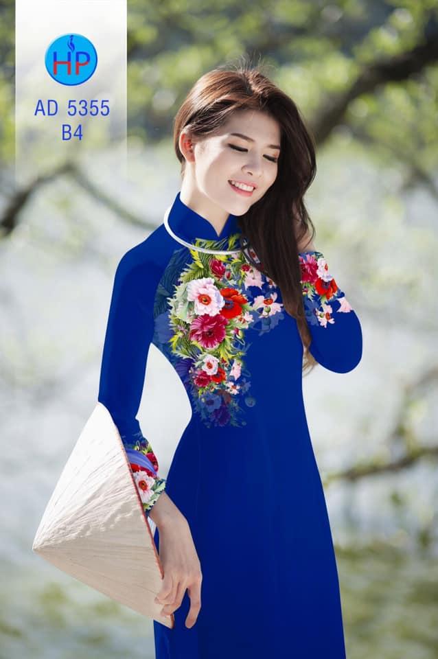 Vải áo dài Hoa in 3D mới ra AD 5355