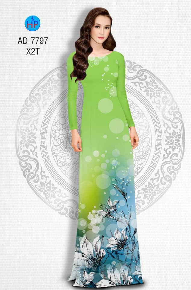 Vải áo dài Hoa Ly thiết kế 2019 AD 7797