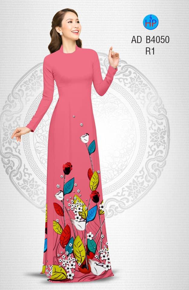 Vải áo dài Hoa hồng kiểu mới AD B4050
