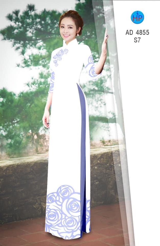 Vải áo dài hoa hồng nhẹ nhàng mới ra AD 4855