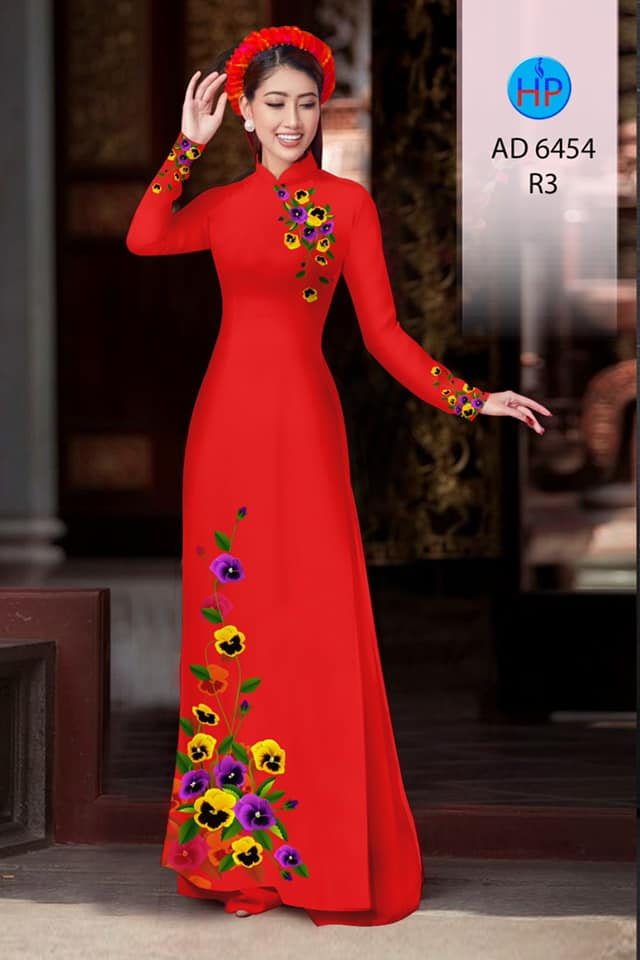 Vải áo dài Hoa in 3D kiểu mới AD 6454