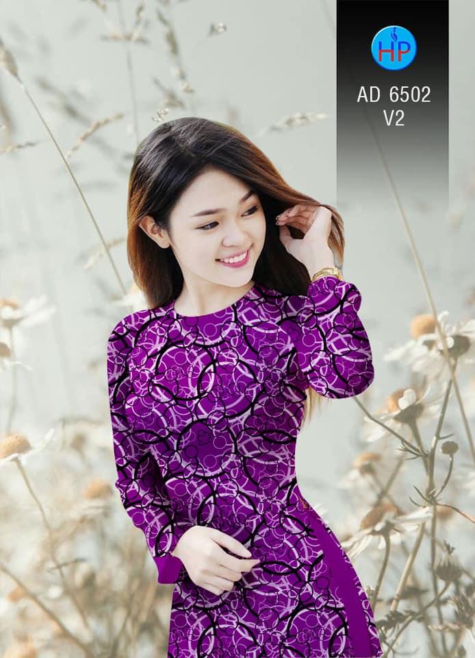 Vải áo dài Vòng tròn đan xen kiểu mới AD 6502