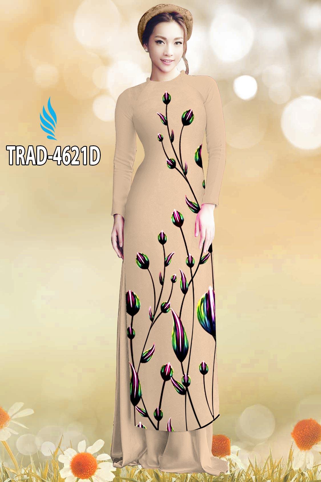 Vải áo dài búp hoa kiểu mới AD TRAD 4621