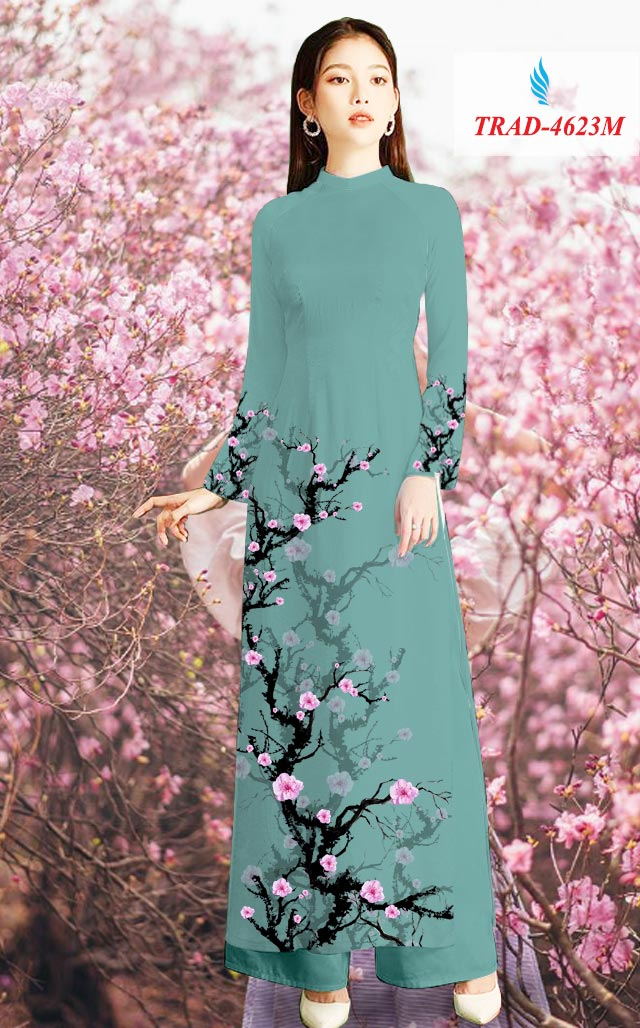 Vải áo dài hoa đào mới ra AD TRAD 4623