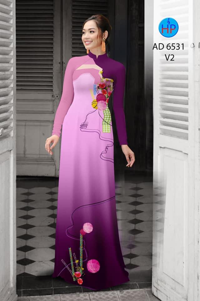 Vải áo dài Hoa in 3D kiểu mới AD 6531