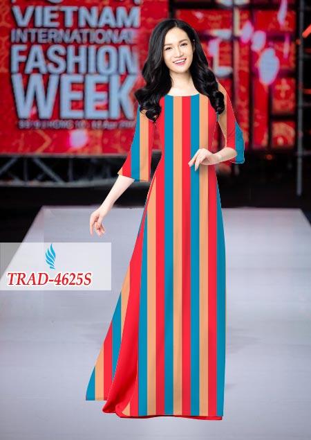 Vải áo dài hoa văn sọc kiểu mới AD TRAD 4625