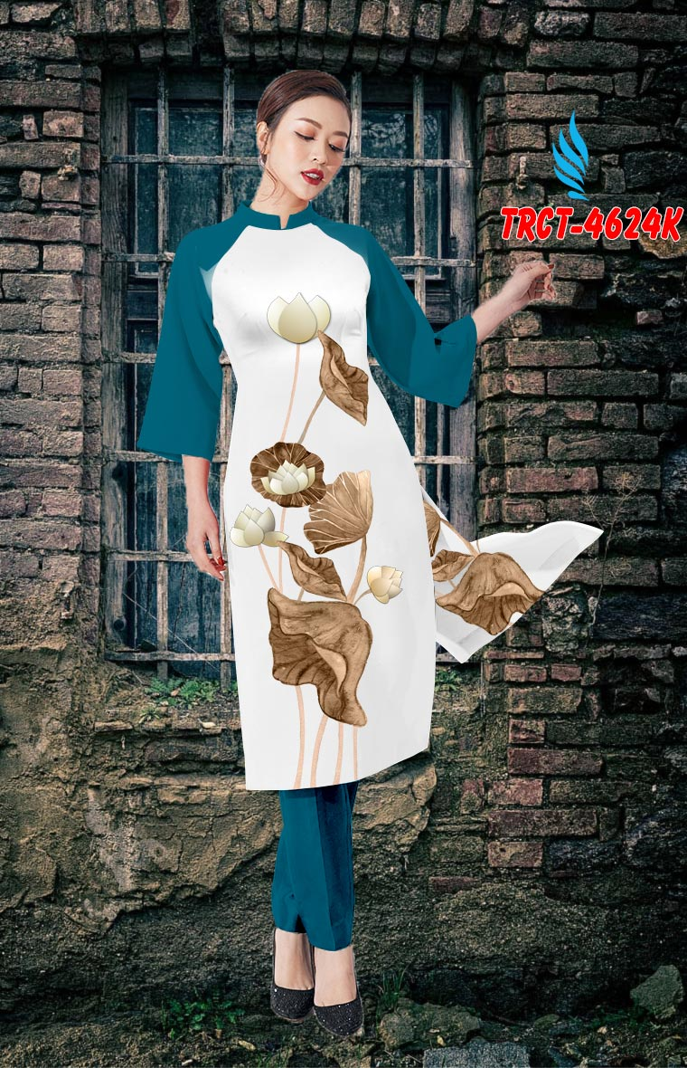 Vải áo dài hoa sen mới ra AD TRCT 4624